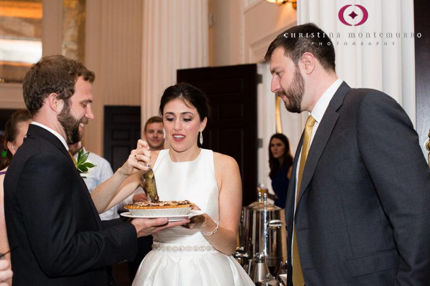 Kimpton Hotel Monaco Pittsburgh Wedding Photos Sheffield Ballroom Wedding Pie Cutting Nontraditional Wedding Dessert