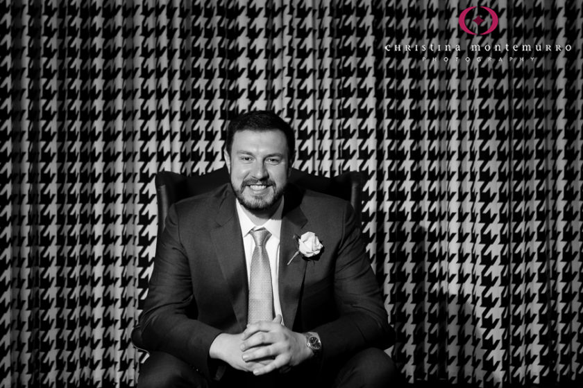 Kimpton Hotel Monaco Pittsburgh Wedding Photos Grom Portrait Black and White Houndstooth Curtains