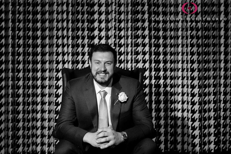 Kimpton Hotel Monaco Pittsburgh Wedding Photos Groom Portrait Black and White Houndstooth Curtains