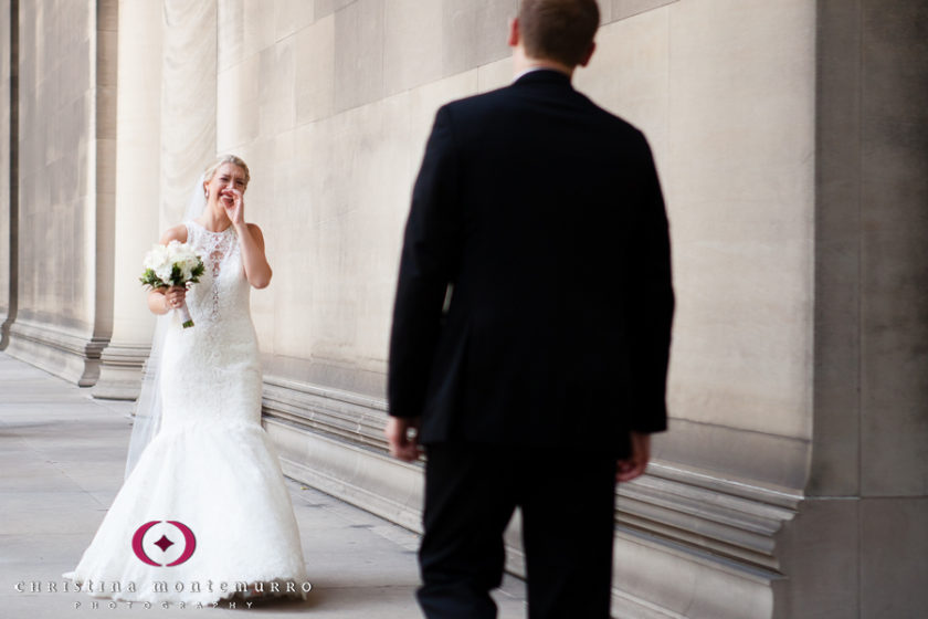 Pittsburgh Wedding Photographer Bride Groom First Look Mellon Institute