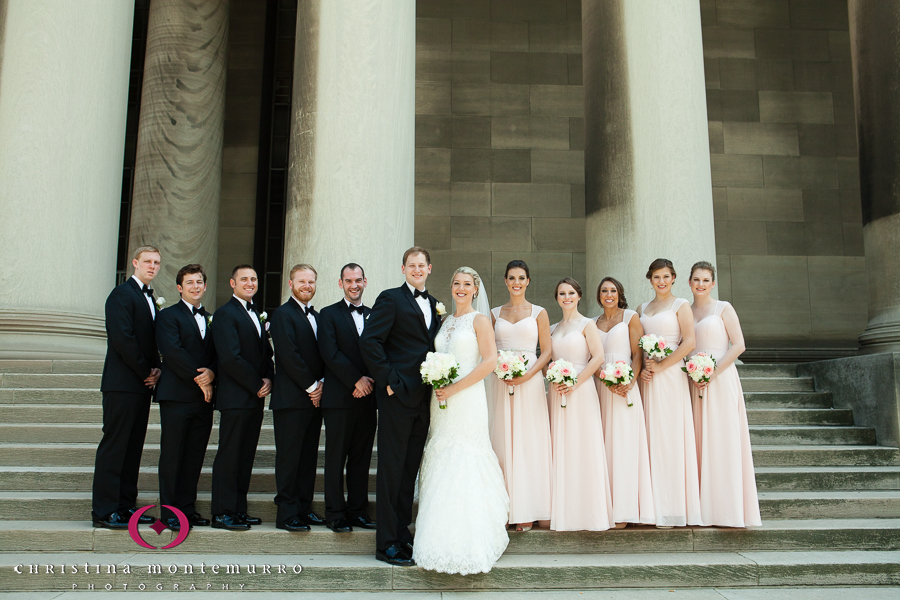 Pittsburgh Wedding Photographer Bridal Party Mellon Institute Columns Pillars