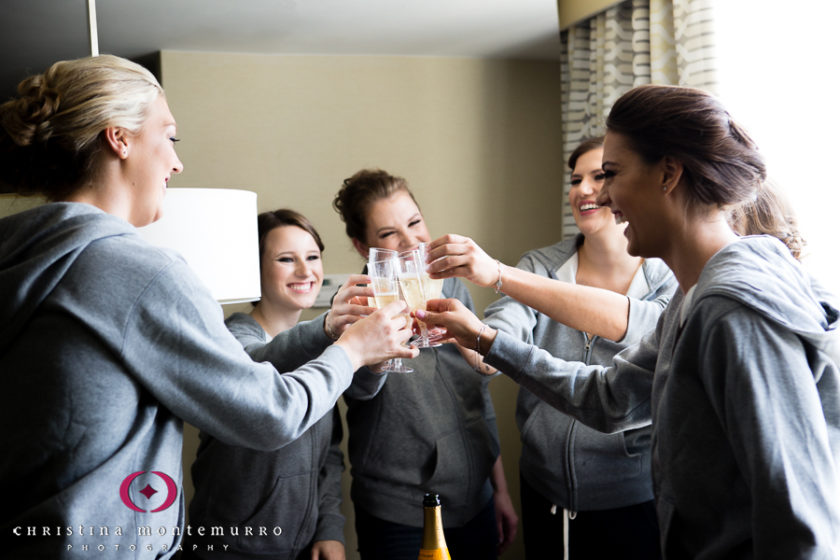 Pittsburgh Wedding Photographer Bride and Bridesmaids Champagne Toast