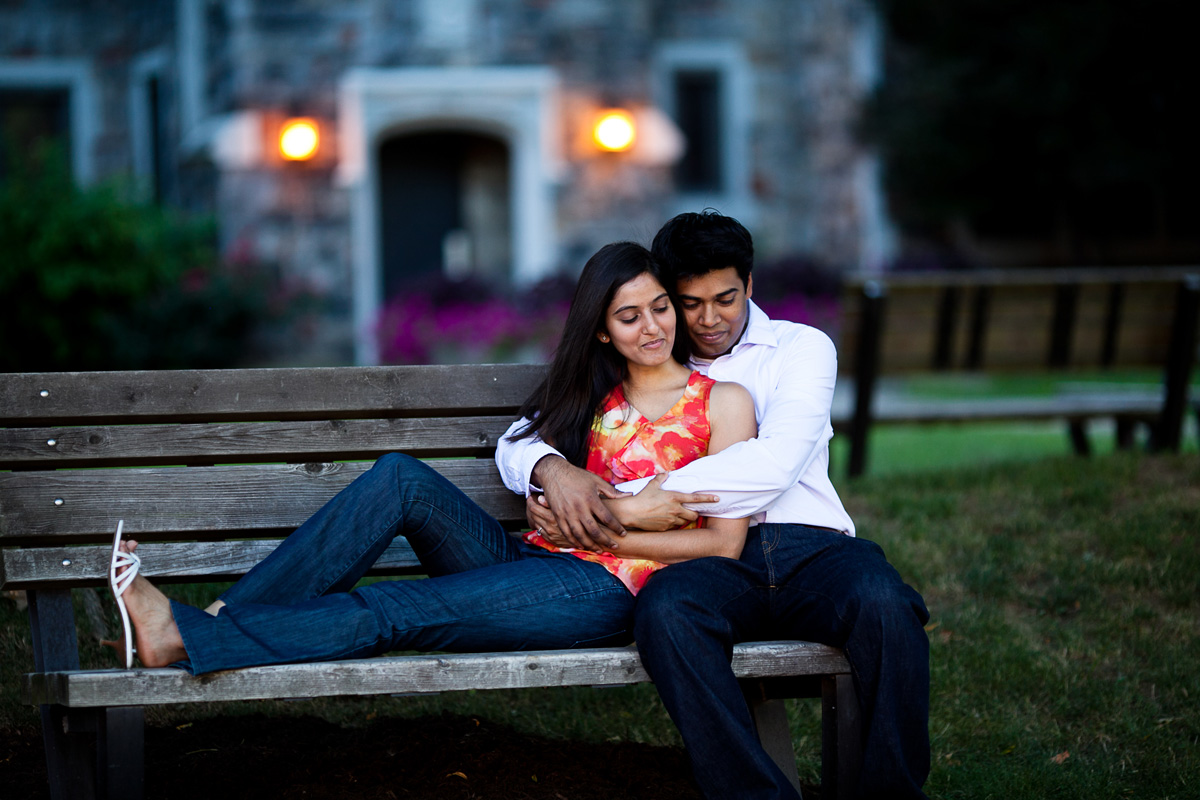 Christina Montemurro Engagement Portfolio - couple on bench
