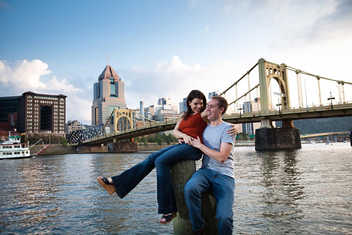 Christina Montemurro Engagement Portfolio - engaged couple downtown pittsburgh
