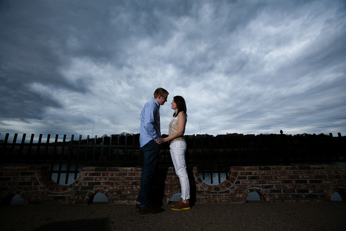 Christina Montemurro Engagement Portfolio - engaged couple grey sky