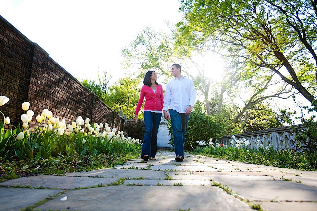 Christina Montemurro Engagement Portfolio - engaged couple walking