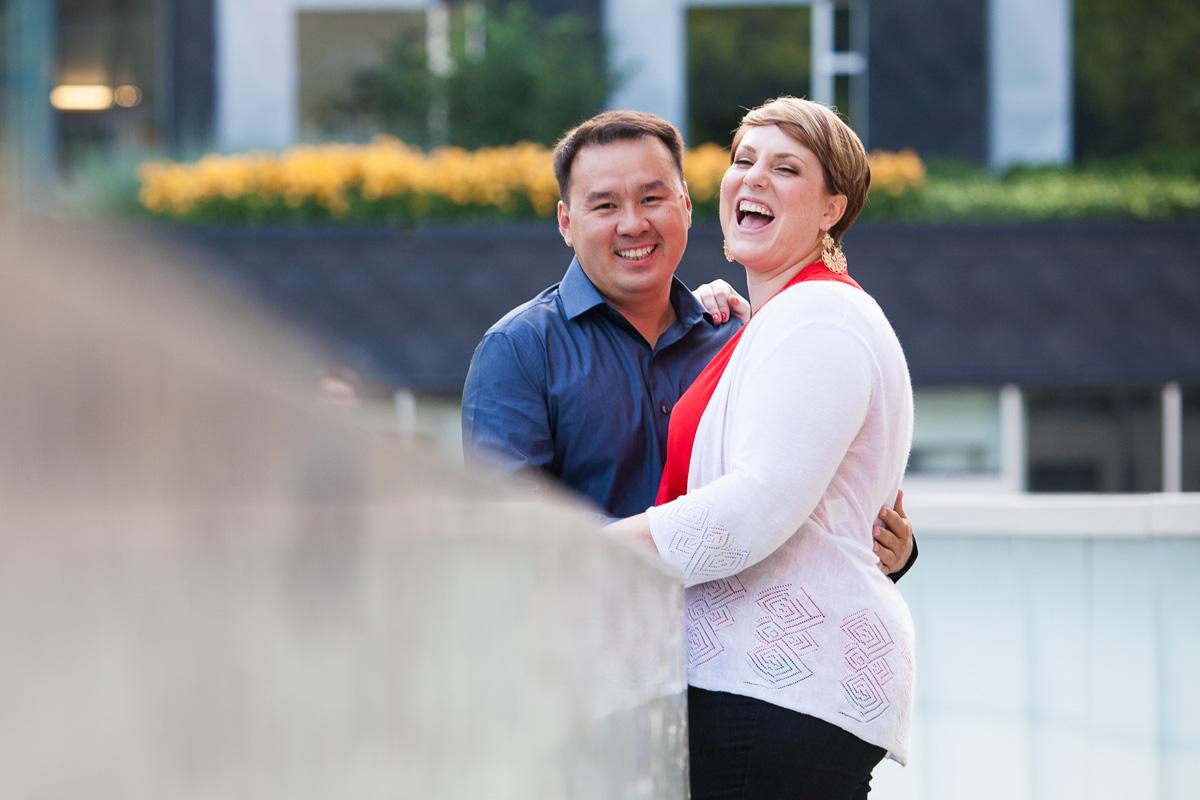 Christina Montemurro Engagement Portfolio - couple laughing