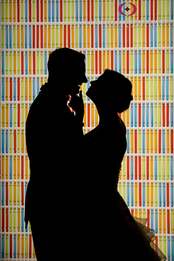 Bride and Groom Silhouette in front of Bright Color Wall at Heinz History Center Exhibit Pittsburgh Wedding Photography