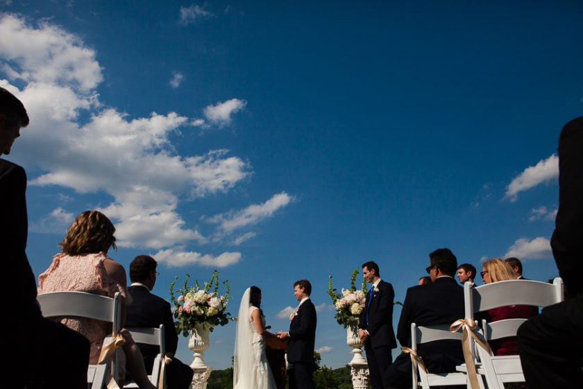 Outdoor June Wedding Ceremony outside Fox Chapel Golf Club Shooting Lodge