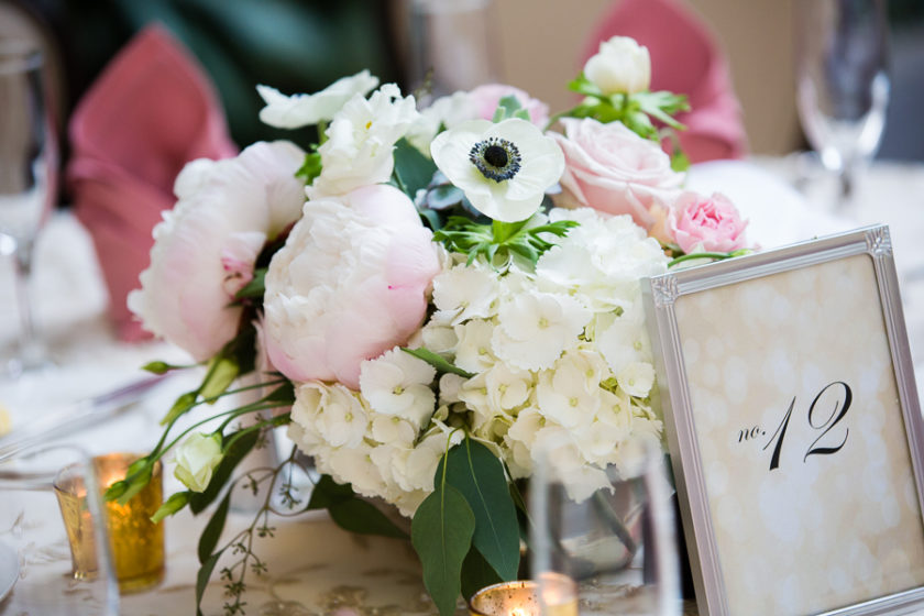 Light Pink and White Low Reception Centerpiece by The Farmer's Daughter Florist