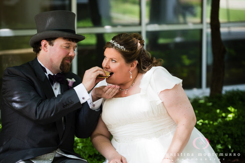 Bride and Groom eat S'mores at South Side Works in Pittsburgh