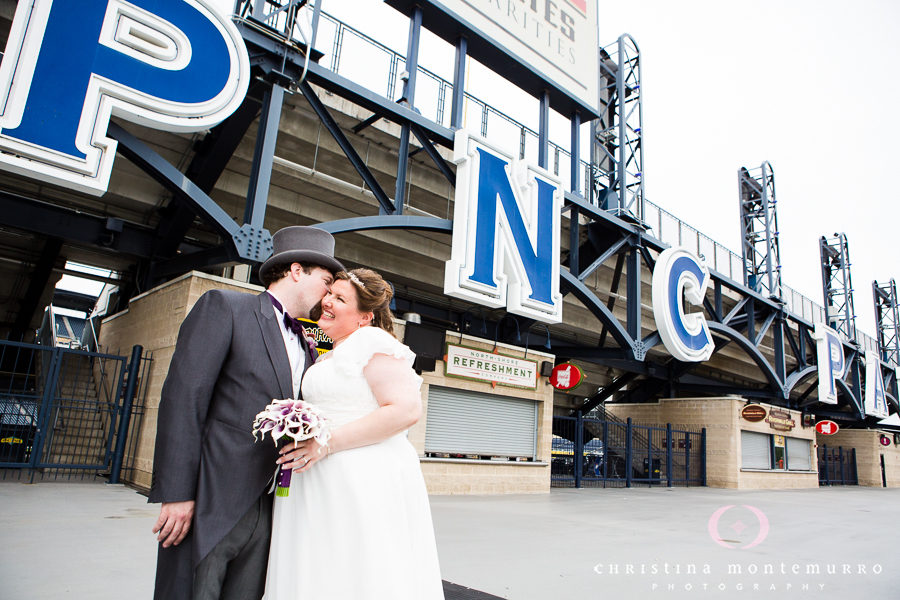 Bride and Groom at the PNC Park Riverwalk