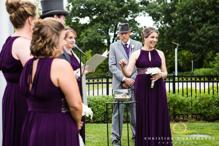 Bridesmaid in Purple Dress at Point State Park Wedding Ceremony
