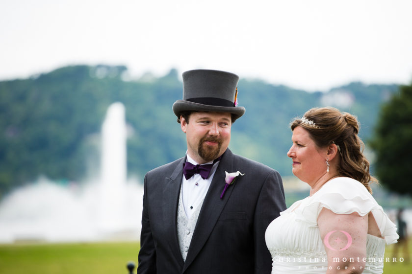 Bride and Groom with Top Hat at Point State Park