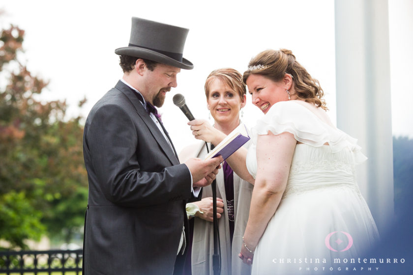 Groom with Purple Notebook Reading his Personal Vows