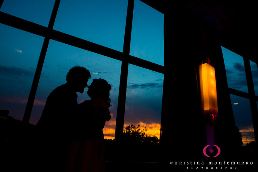 Bride and Groom Sunset Silhouette Wyndham Grand Pittsburgh Point State Park