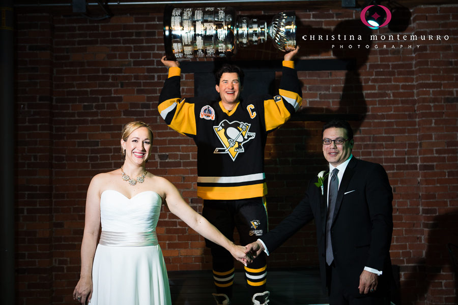 Bride and Groom with Mario Lemieux Statue and Stanley Cup atHeinz History Center Pittsburgh