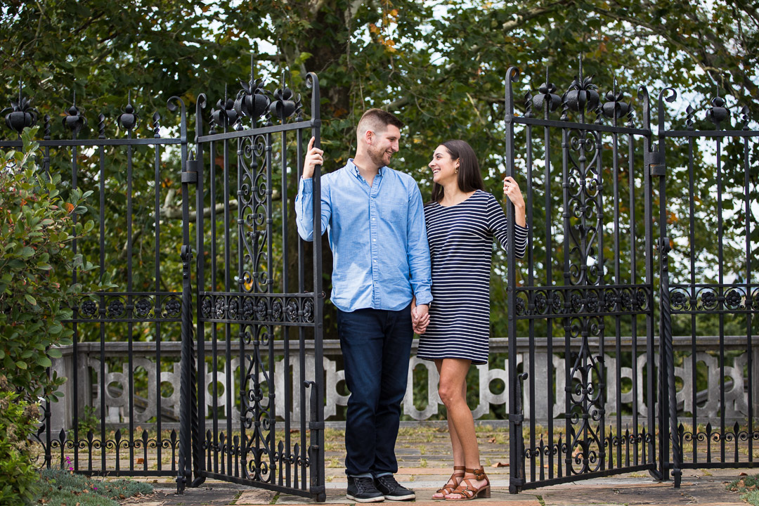 Engagement session at Mellon Park iron gates