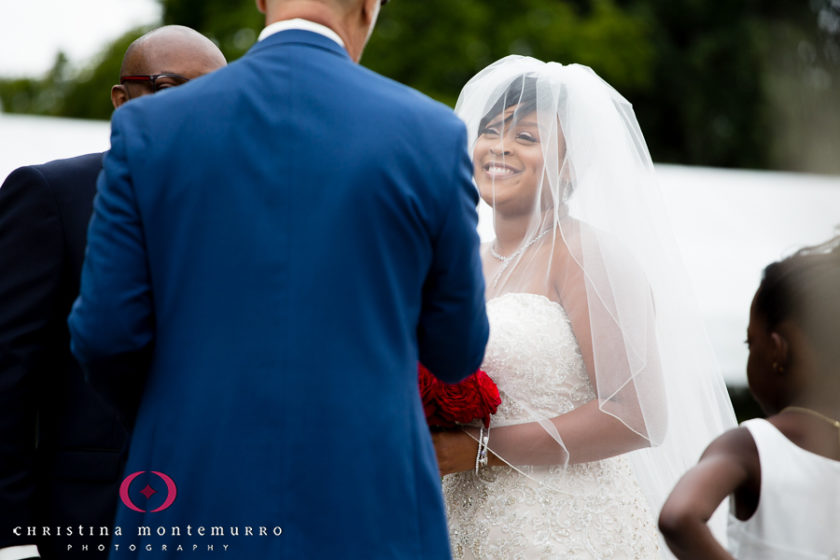 Happy bride at outdoor September wedding
