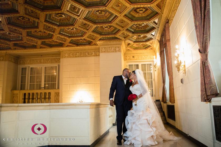 Elegant bride and groom portrait in the Mezzanine level of the Omni William Penn
