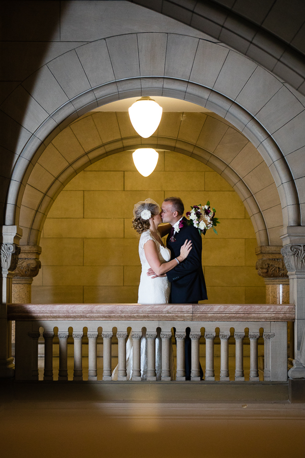 Bride and Groom in a Stone Archway in the Allegheny County Courthouse Pittsburgh