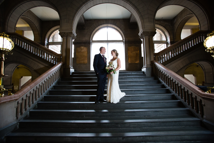 Bride and Groom on the Grand Staircase in the Allegheny County Courthouse