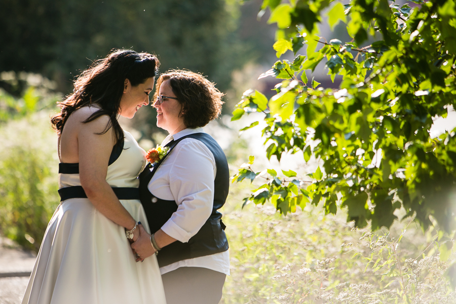 Two Happy Brides, Backlit by the Sun