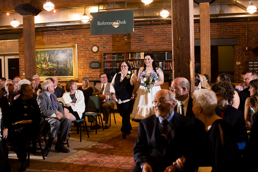 Brides Walking into their Ceremony at the Heinz History Center Library & Archives Room