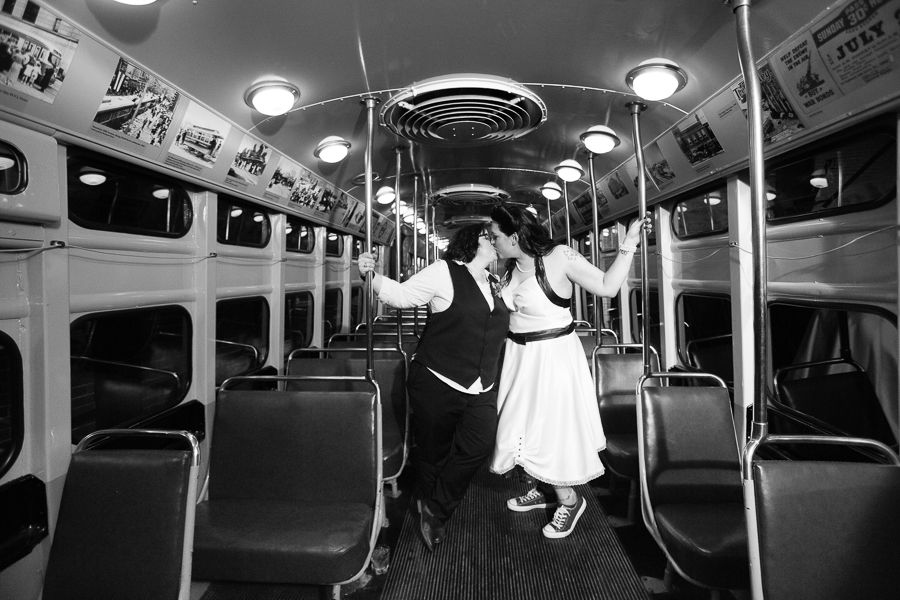 Two Brides Kissing in the Trolley at the Heinz History Center