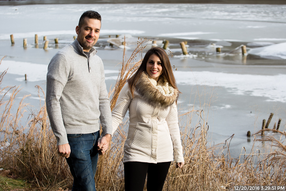 Anniversary Photos in North Park in Winter by Frozen Lake