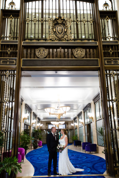 Bride and Groom in Iron Doorway at Pittsburgh Union Trust Building