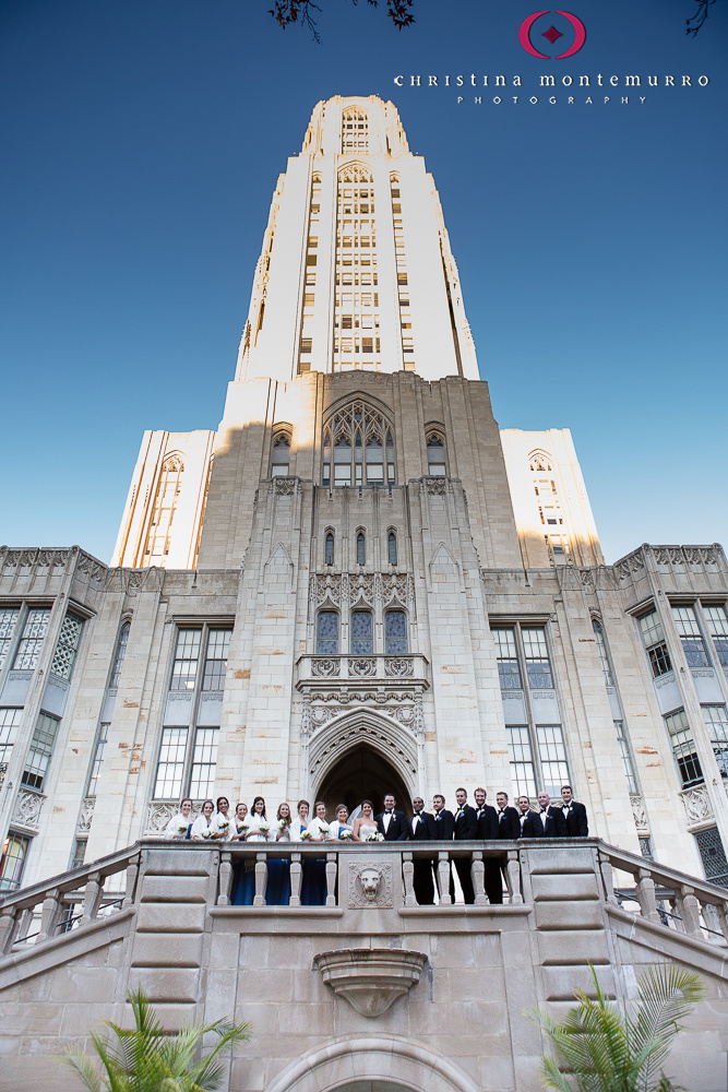 November Wedding with Large Bridal Party Cathedral of Learning