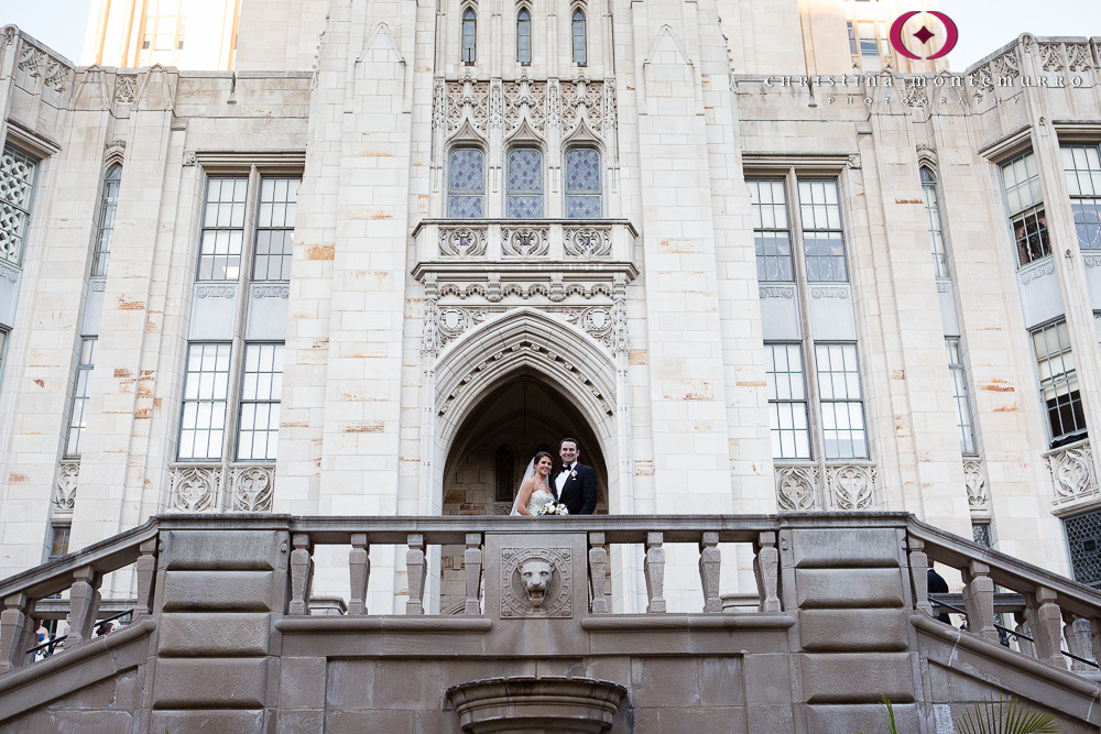 Bride and Groom at Cathedral of Learning Oakland