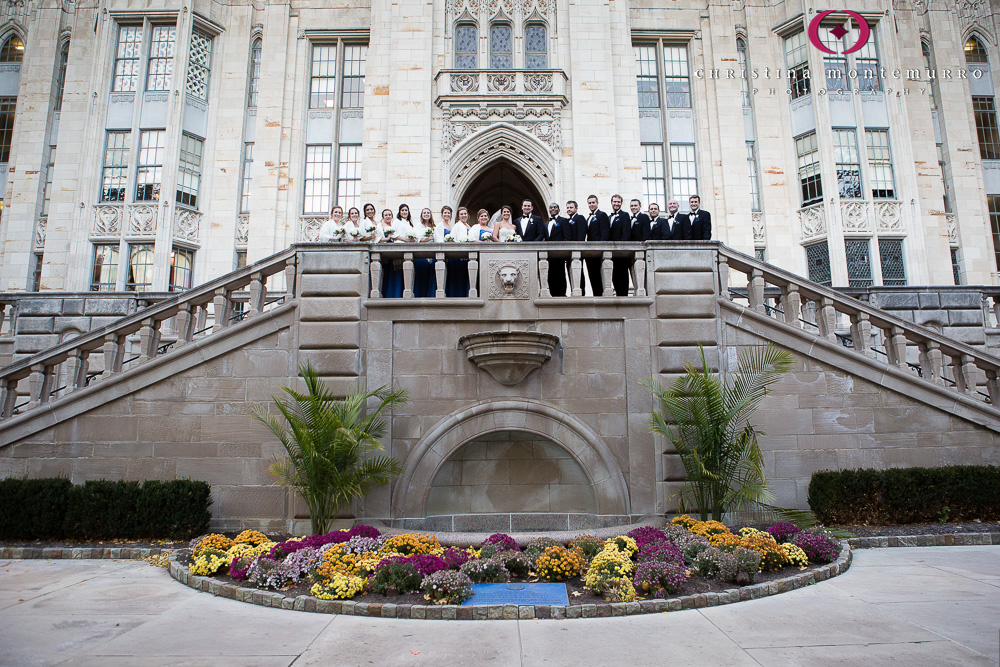 Fall Wedding with Big Bridal Party Cathedral of Learning