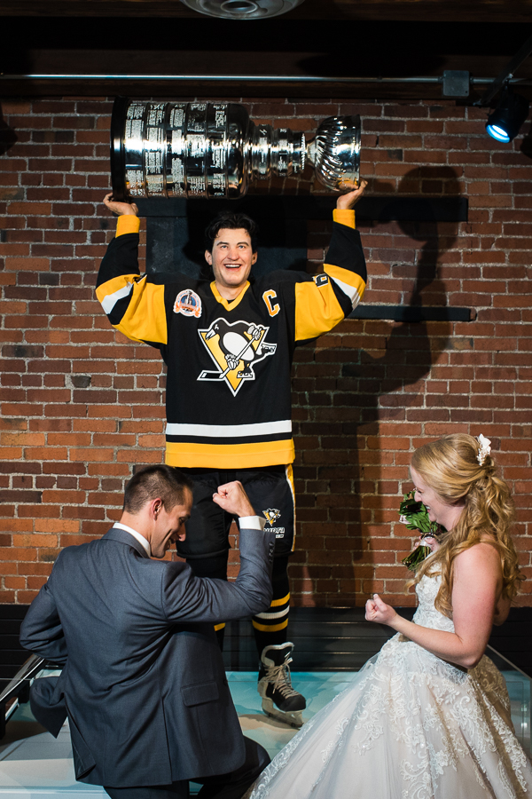 Bride and Groom Celebrate at Mario Lemieux and Stanley Cup Statues