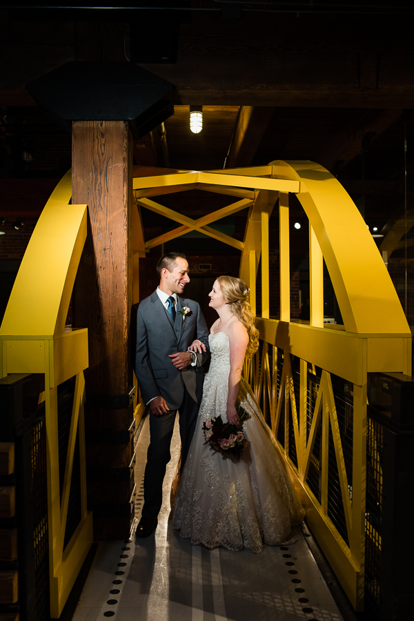 Bride and Groom on Yellow Bridge at Heinz History Center Wedding