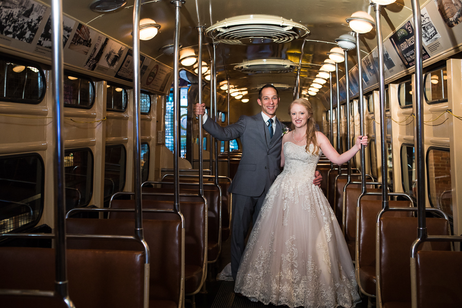 Bride in Strapless Pale Pink Wedding Gown and Groomin Gray Suit in Trolley at Heinz History center