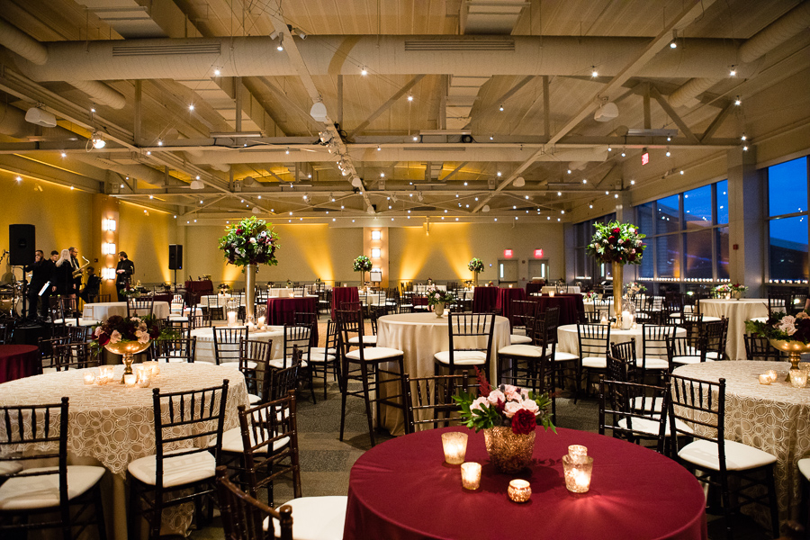 Cocktail Style Reception in Heinz History Center Mueller Center with Ivory and Deep Red Linens