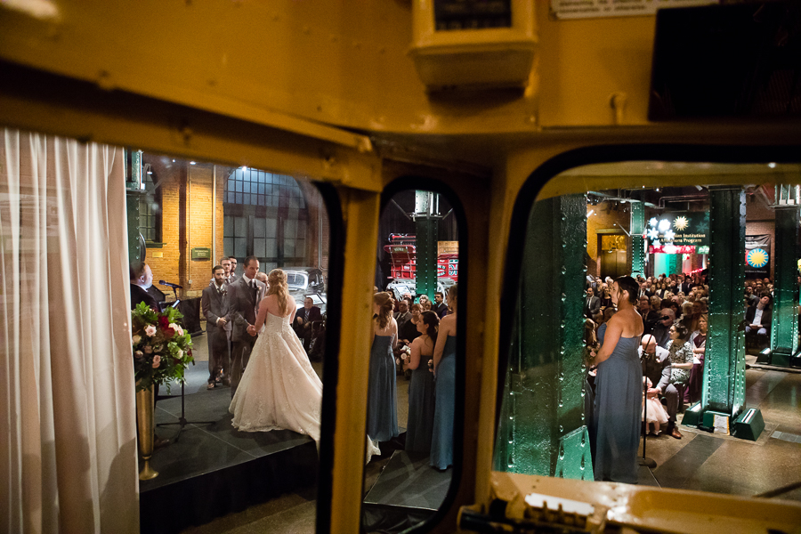 Looking out of the Trolley at Wedding Ceremony with White Drape in the Heinz History Center Great Hall