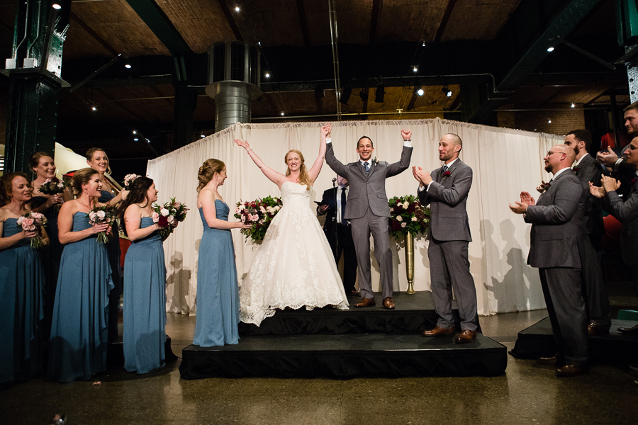 Just Married Couple Celebrates at the End of their Ceremony in Heinz History Center Great Hall
