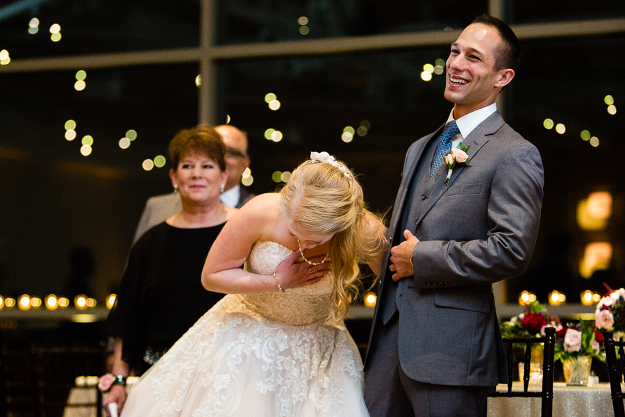 Bride and Groom Laughing at Speech at Heinz History Center Wedding