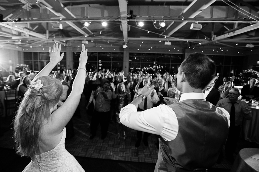 Bride and Groom on Stage at Heinz History Center November Wedding