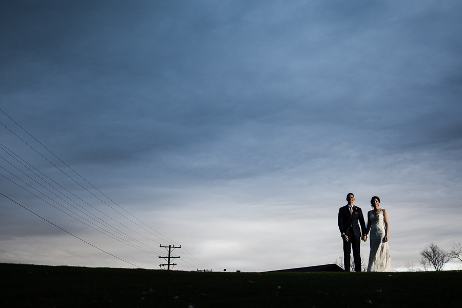 Bride and Groom Portrait with Dramatic Sky at Lenape Heights Golf Resort