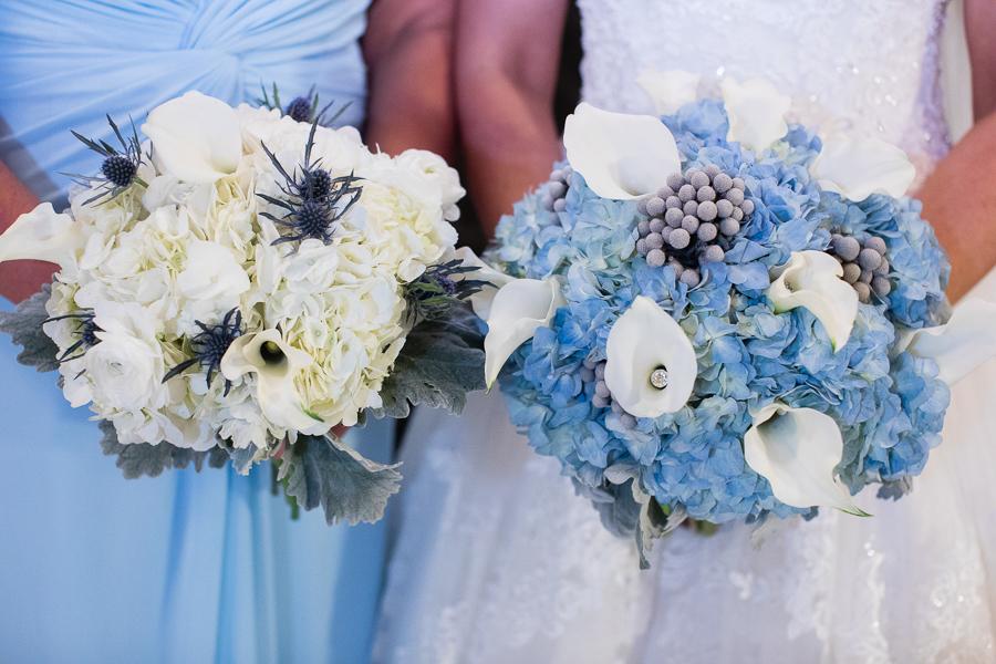 White Hydrangea and Blue Thistle Bridesmaid Bouquet with Blue Hydrangea White Calla Lily Silver Brunia Berry Bridal Bouquet