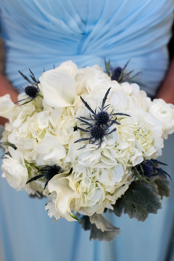 White Hydrangea and Blue Thistle Bridesmaid Bouquet