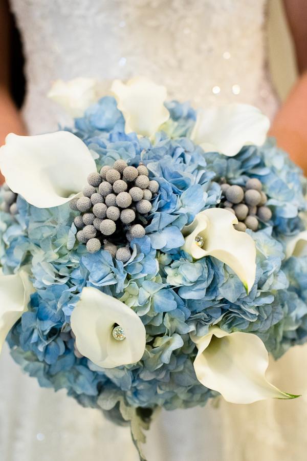 Winter Blue Hydrangea White Calla Lily Silver Brunia Berry Bridal Bouquet