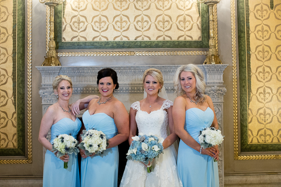 Winter Theme Light Blue Bridesmaids Dresses with White Bouquets and Blue Hydrangea Bridal Bouquet by Gidas