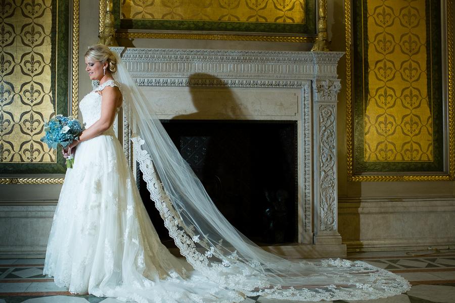 Beautiful Bride in Justin Alexander Gown in Carnegie Museum Founders' Room