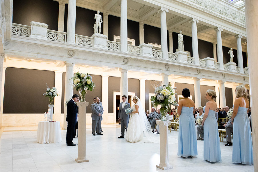Winter Theme Wedding Ceremony in Carnegie Museum Hall of Sculpture