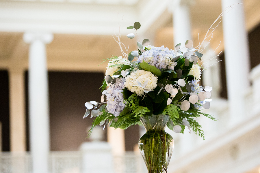 Blue and White Floral Arrangement by Gidas in the Carnegie Museum Hall of Sculpture
